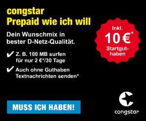 congstar Prepaid SIM-Karte: 9 Cent Prepaid Tarif