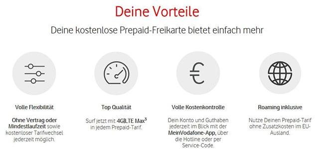 Vorteile der Vodafone Callya Freikarte