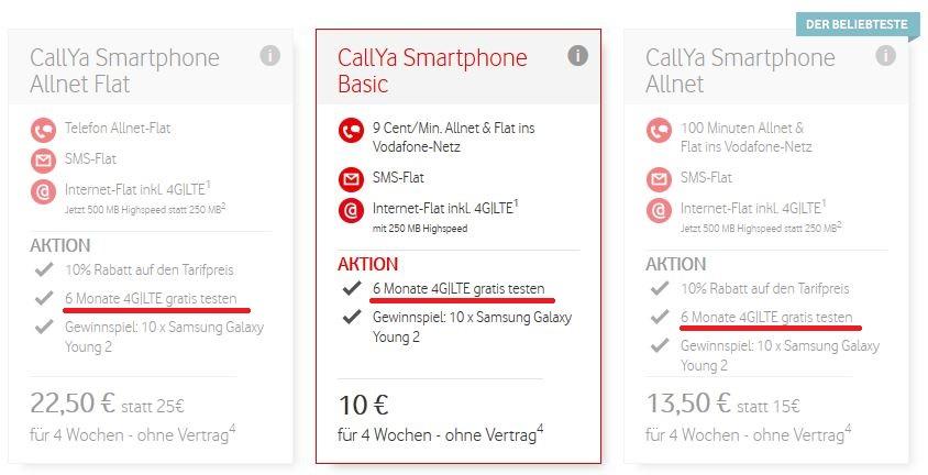 Vodafone CallYa LTE Aktion