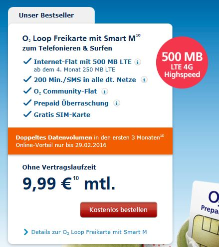 o2 Loop Freikarte mit LTE