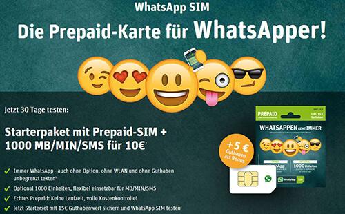 Neue WhatsAppSIM Prepaid Tarife