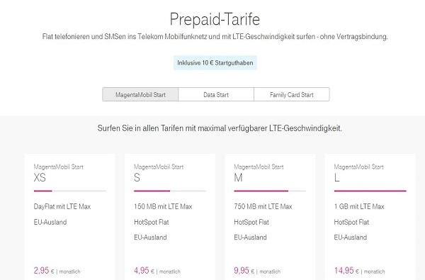Telekom MagentaMobil Start Prepaid Tarife Vergleich