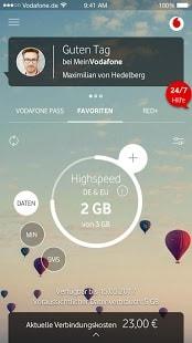 Über die MeinVodafone-App Guthaben abfragen