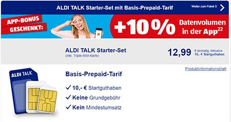 Aldi Talk Sim Karte Kaufen.Aldi Talk Starter Set Inkl 10 Startguthaben Einmalig 12 99