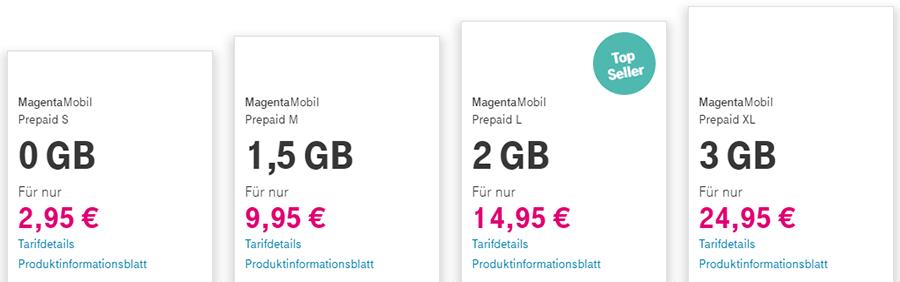 Prepaid Tarife der Telekom im Überblick