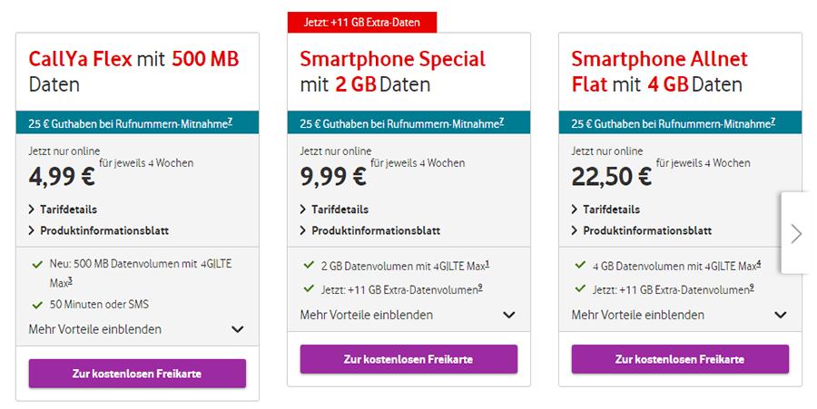 Prepaid Tarife von Vodafone im Überblick