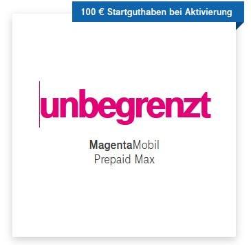 Bis zu 100 € Startguthaben bei Telekom MagentaMobil Prepaid Max