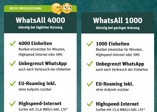 Diese Prepaid Tarif-Optionen können bei der WhatsApp SIM gebucht werden
