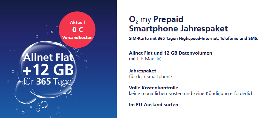o2 Prepaid Smartphone Jahrespaket